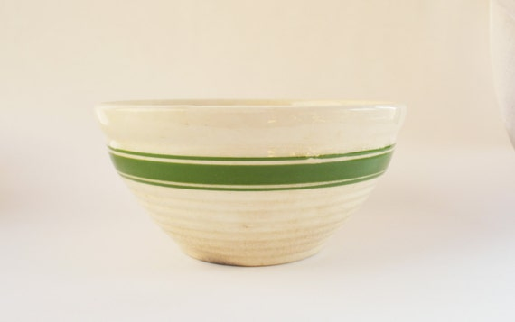 Vintage Yellow Ware Bowl With Green Stripes Vintage