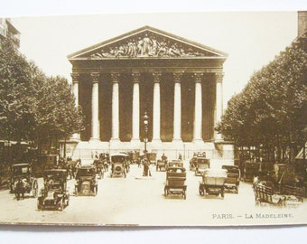 Antique French Postcard Sepia Very Old @1910 Scenic Souvenir Paris- La Madeleine  Antique Cars Autos  Automobiles Paper Ephemera Unused