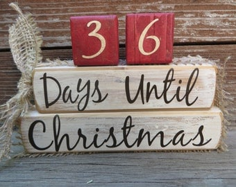 Vintage Christmas Countdown Blocks Advent Sign