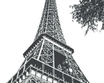 """Cross Stitch Pattern Eiffel Tower Black n Grey  PDF / JPG (Immediate Download) 16.00"""" x 21.36"""" DMC / Anchor"""