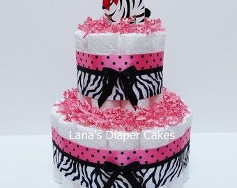 Hot Pink Safari Diaper Cake Baby Shower Centerpiece