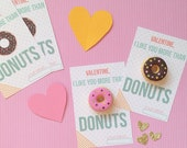 Valentines Printable Tags-- I like you more than donuts-- Donut Valentine-- Digital File