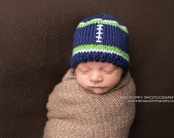 Blue Football Baby Hat • Football Hat • Baby Sports Hat • Football Beanie • Newborn Photo Prop • Football Baby Hat • Baby Shower Gift