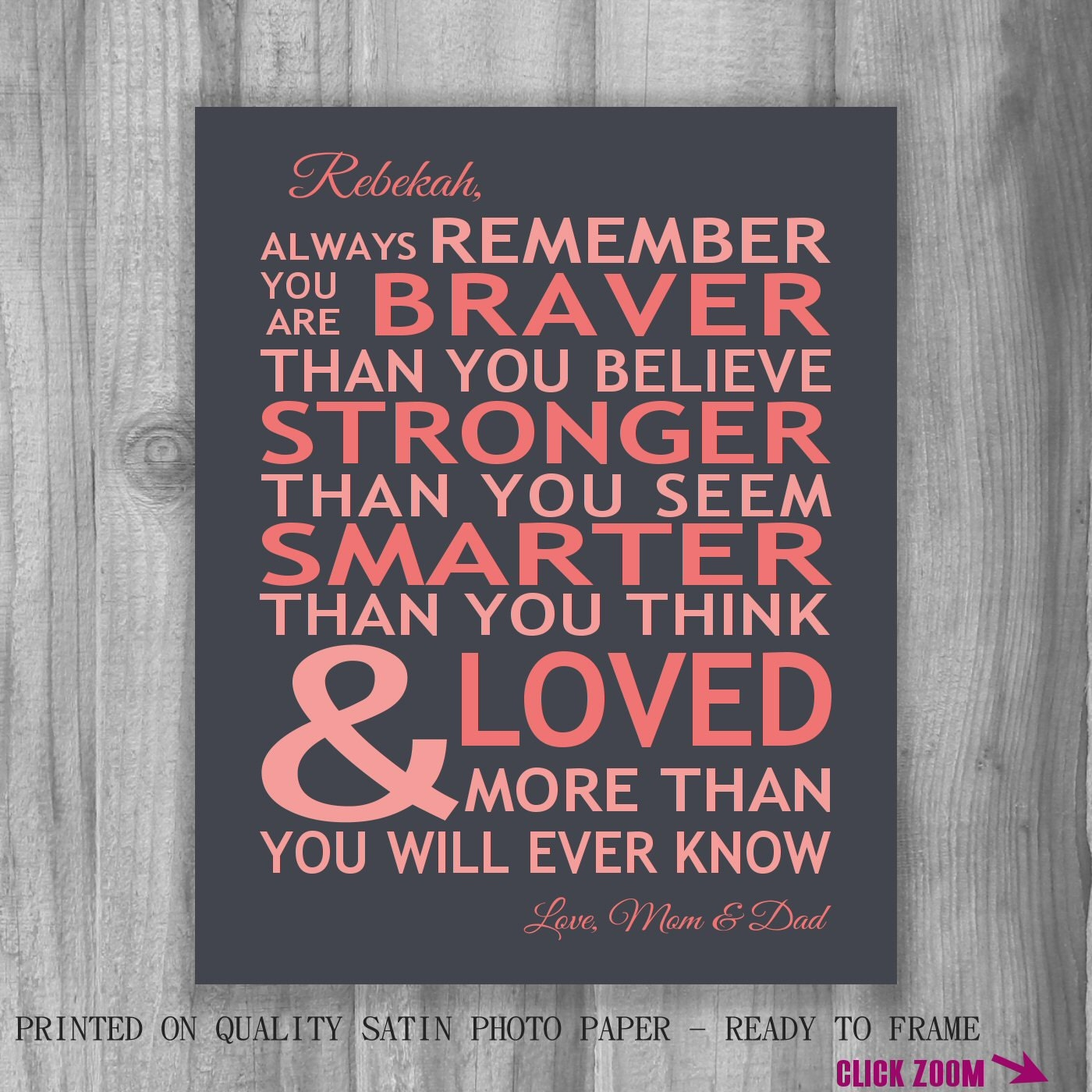 You Are Loved Quotes: Personalized Always Remember You Are Braver You Are Loved