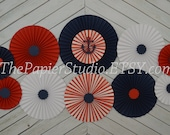 Red and Navy Nautical Set of 11 (ELEVEN) paper fans/rosettes, decorations for  Baby Shower, Birthday Party or Wedding