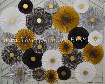 Black and Gold, Great Gatsby Inspired Set of 24 (Twenty Four)  Paper Rosettes