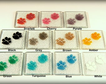 4 Paw Coasters-FREE UK SHIPPING-Choose a combination of colours-11 colours available-fused glass coasters