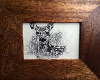 "Fawn ""dot"" ink drawing, Original"