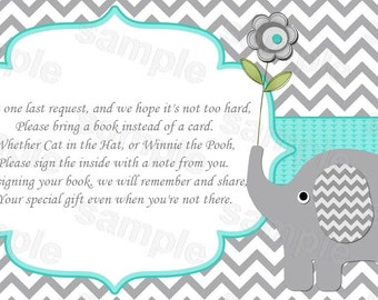Insert elephant baby shower invitation Bring a book insert instead of a card (01-2a) instant download