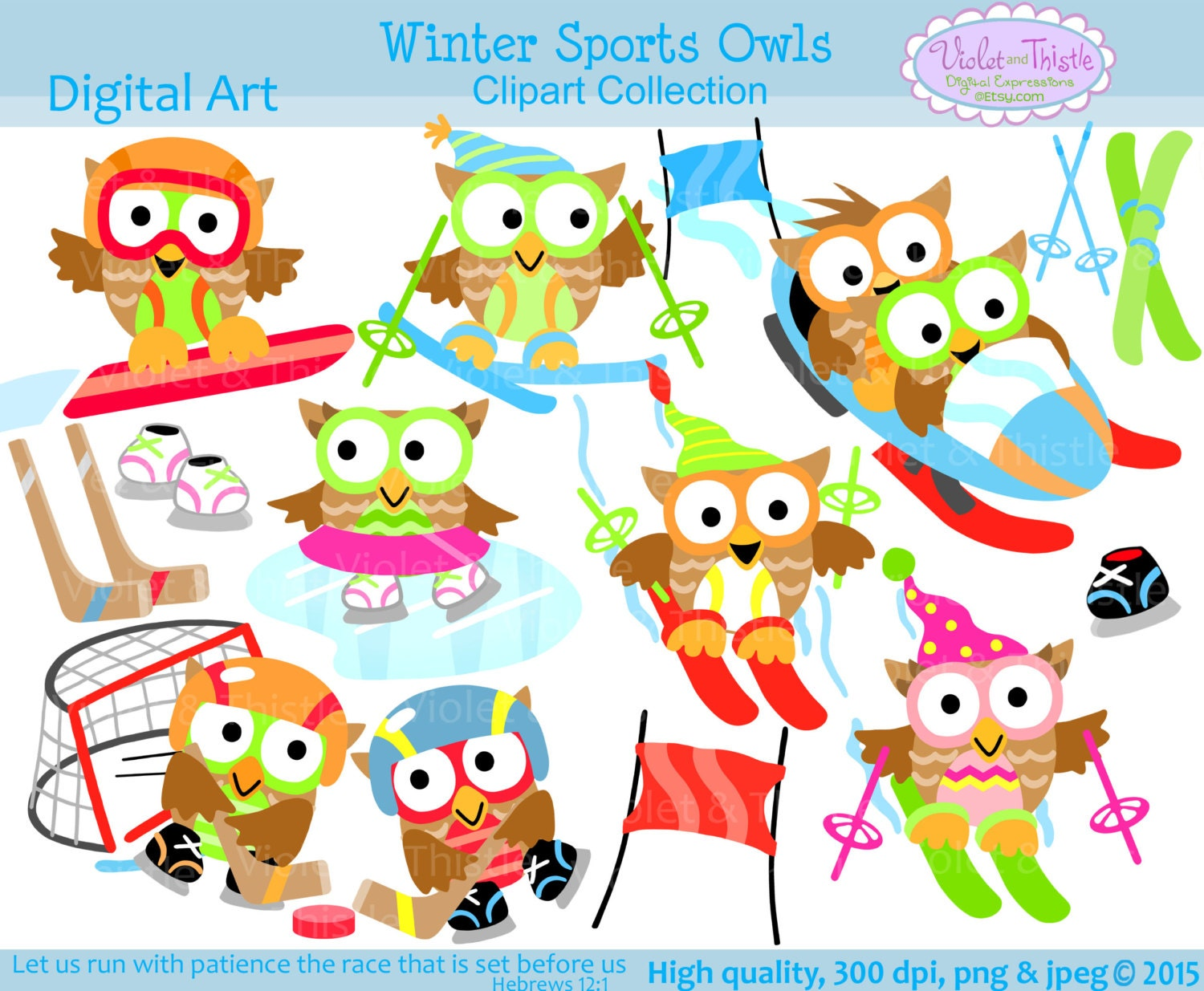 Winter Sports Owls Clip Art Clipart snowboarding ice skating