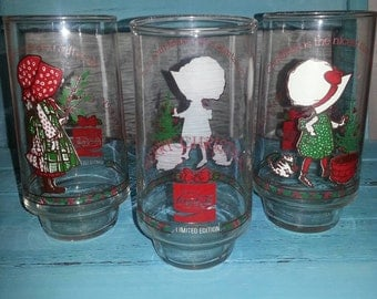Vintage Holly Hobby Christmas Coca-Cola glasses - set of 3