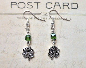 Lucky Silver Shamrock Earrings with Emerald Cut Green Crystals.