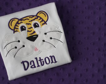 LSU or Auburn Tigers Appliqued Shirt- Personalized