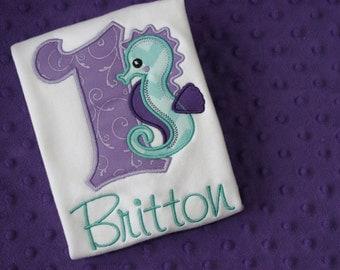 Under the Sea Birthday Shirt- Seahorse Appliquéd Shirt or Onesie