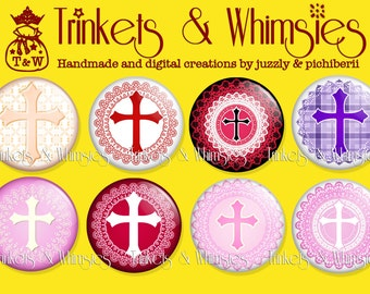 Crosses 109-16 (8 pcs) 1 inch Flat Back Buttons