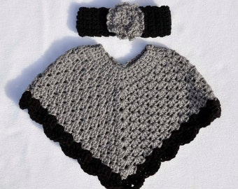 Baby Poncho and Headband Set, Size 6month to 12 month, baby shower, gift, present, infant, toddler, black, grey