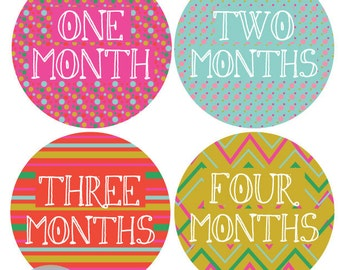 INSTANT DOWNLOAD - Monthly Onesie Labels - Bright Polka Dot / Chevron Onesie Labels (Months 1-12)