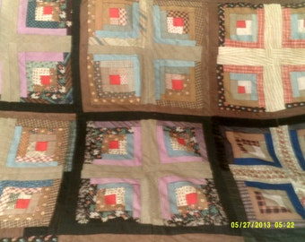 """Vintage 1920s Hand Stitched Log Cabin Lightweight Quilt, 80""""by 64"""", Log Cabin Quilts, Hand Made Quilt, Antique Quilts, Hand Quilted"""