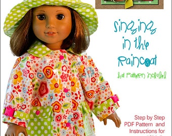 Pixie Faire Jessie America Singing in the Raincoat Doll Clothes Pattern for 18 inch American Girl Dolls - PDF