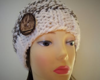 Chunky knit hat in cream and brown wool. ladies wool hat,knitted ladies hat