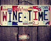 Wine. Beer. Whiskey. Bar. Drinks. Party. License plate art. Bar sign. Recycled. For her. Christmas