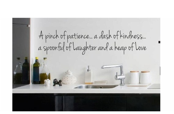 Kitchen Wall Quote Sign Vinyl Decal Sticker Pinch of patience