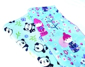 "Kawaii Pandas and Girls Double Sided Lunch Cloth Napkins -Set of Pink Purple Geisha 8.5x8.5"" Napkins"