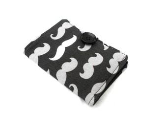 Gray Mustache Tea Wallet - Tea Bag Wallet Grey Black Gentleman