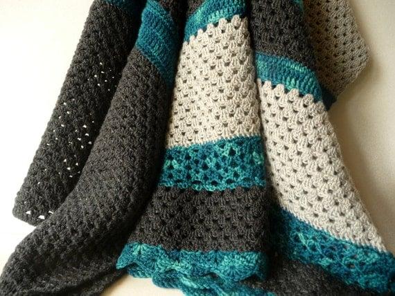 Modern Crochet Patterns For Baby Blankets : Modern Crochet Baby Blanket Natural Baby Boy Blanket Baby