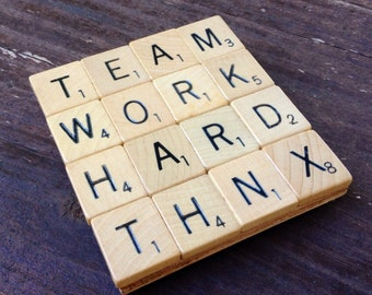TEAM WORK, Drink Coaster, Upcycled, Scrabble Tiles, Coasters, scrabble decor, employee recognition, appreciation gift