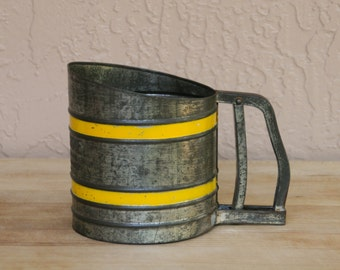 Vintage Sift-Chine Flour Sifter - Chrome with Yellow Bands