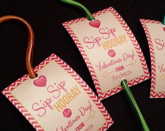 Valentine's Day Favors- Valentine Printables - Straw Favors - Sip Sip Hooray for Valentines Day