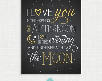 Nursery Wall Decor - Wall Art- I Love You to the Moon and Back - Nursery Art - Wall Decor  - 11x14 Instant Digital Download