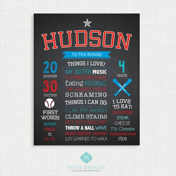 First Birthday Chalkboard Sign - 11x14 - Baseball - Personalized & Printable - Birthday Chalkboard Poster - Custom Birthday Sign