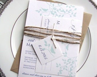 Sample Wedding Invitation, Modern Rustic Wedding Invitation, Eco Friendly, Love Birds Wedding Invitation, Simple Rustic Wedding Invitation