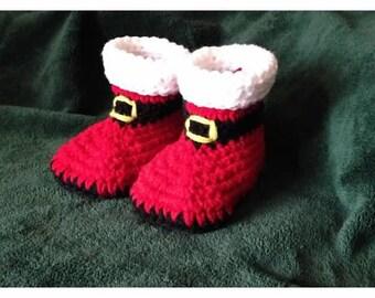Crochet baby Santa booties, boots