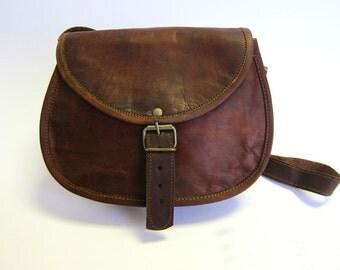 Handmade Real Brown Leather Vintage Style Bag, Satchel Bag, Buckles, Clutch Bag
