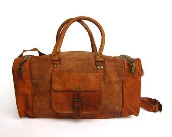 Handmade Real Brown Leather Vintage Style Bag, Satchel, Buckles, Weekend Bag, Hand Luggage Bag