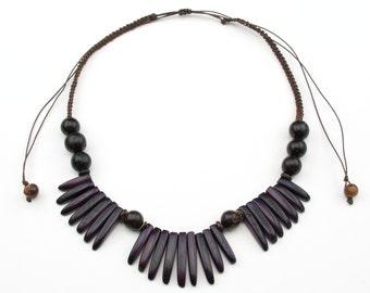 Adjustable Purple Tagua Necklaces.