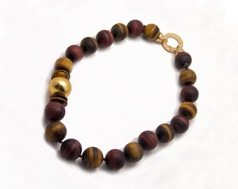 Tiger eye short necklace with golden parts