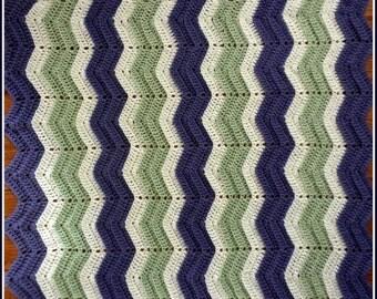 Handmade Crochet Rich Lavender/Purple, Honey Dew Green and White Baby Blanket