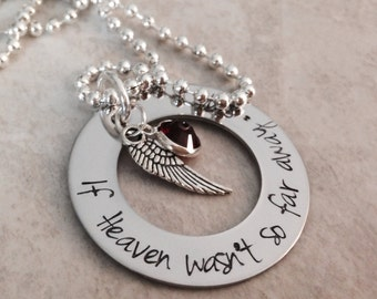 SALE If Heaven wasn't so far away personalized necklace hand stamped jewelry mom dad grandma grandpa child loss