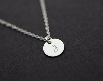 personalized necklace. initial sterling silver necklace. Celebrity Inspred necklace. one disc initial Jewelry . friendship, couple necklace