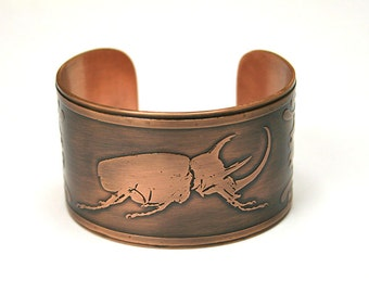 Rhino Beetle, Handmade Etched Copper Cuff Bracelet