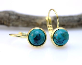 Bridal earrings. gold plated earrings. turquise earrings. turquise jewelry. gold earrings. blue gemstone dangle earrings. Gold and blue.