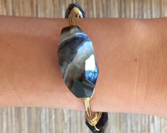 the BLACK LAYERED STONE bangle bracelet (tarnish resistant)