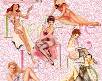 12 Vintage Pinup Girls |  Lingerie Ladies Boudoir Retro  Clipart Instant Download