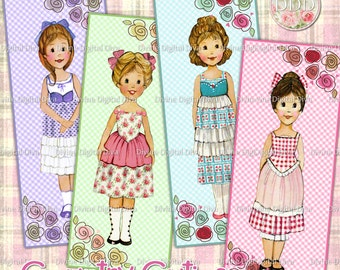 Country Cutie Little Girls with Flower Motif Bookmark Size Digital Image Collage Sheet Instant Download