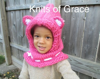 Pink Kitty Hood/Cowl - Infant, Toddler, and Child sizes available