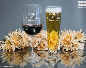 Personalized Wine Glass & Beer Glass Mixed Set - (Set of TWO) Custom Engraved Wine Glass and Katrina Pilsner - Wedding - Engagement Gift